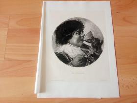 1886年铜版蚀刻版画《品酒师》(DER GESCHMACK)-- 出自17世纪荷兰杰出的肖像画家,荷兰现实主义画派的奠基人,弗兰斯·哈尔斯(Frans Hals,1584-1666)作于1628年的油画,藏于德国诗威林美术馆;他以大胆流畅的笔触和打破传统的鲜明画风闻名于世 -- 雕刻师:W.ROHR -- 奥地利维也纳艺术画廊出版发行 -- 版画纸张38.5*29厘米