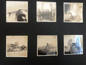 民国抗战时期日本鬼子军官站在天津号飞机前、天津日军军营、剃头、木工干活等老照片6张