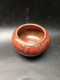 精美红釉陶瓷笔洗一个20110602