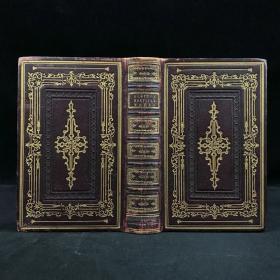 约19世纪中期 司各特诗集 8幅钢版画插图 全真皮特装本36开 环衬烫金压花 书口三面鎏金