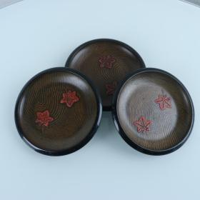 日本 漆器 樱花图案 圆形平盘 三件 HXTX202568