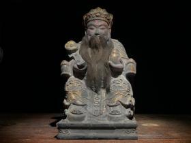 老木雕彩绘财神爷坐像