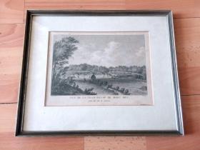 18世纪末铜版画《阿尔卑斯山脉神秘的隐修地:查尔特勒山脉,圣灵山谷的查尔特勒修道院,法国阿维尼翁》(VUE DE LA CHARTREUSE DE MONT DIEU)-- 出自17世纪法国画家Denis Savard作品 -- 查尔特勒修道院是圣布鲁诺(1032-1101,加尔都西会创始人)于1084年到查尔特勒山脉隐修时建立,坐落于查尔特勒山脉的一处隐密僻静之所 -- 原木老画框35*29厘米