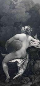 1865年 维也纳藏画集 钢版画 朱庇特与伊娥 27*21厘米