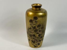 花瓶 漆器 時絵 金彩 花 高18cm