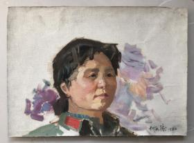 【何孔德】八十年代纸本油画,人物肖像,尺寸:52x38cm