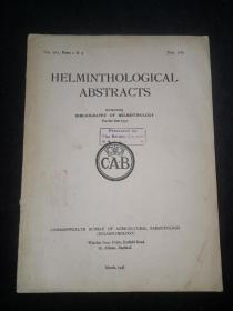 1948年外文书:寄生虫学HELMINTHOLOGICAL ABST RACTS 第16卷1.2期