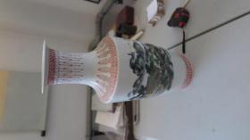 瓷杂专场  中国银行  建行三十周年 彩墨山水赏瓶1个  完整无损  尺寸高48厘米