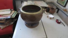 约民国期间   铜制香炉一个    耳子掉   尺寸高208*宽25厘米