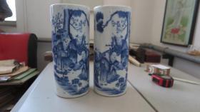 民国时装瓷绘大师毛子荣绘   香山五老 瓷器一对2个  完整无损   尺寸高28*宽12厘米