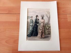 19世纪手工上色木刻版画《群芳争艳》(ILLUSTRIRTE FRAUEN-ZEITUNG)-- 卡纸画框42*30厘米,版画纸张38.5*28.5厘米 -- 手工上色,非常精美