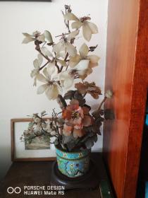 玉石玛瑙材料制作的 景泰蓝花盆一个  高54厘米