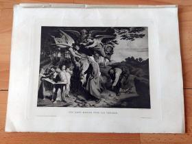 1888年铜凹版腐蚀《Virgin探访》(DER GANG MARIAE UBER DAS GEBIRGE)-- 出自19世纪著名捷克拿撒勒派浪漫主义画家,约瑟夫·冯·富赫里奇(Joseph Von Fuhrich)作于1841年的油画 -- 维也纳艺术画廊出版发行 -- 版画纸张39*29厘米
