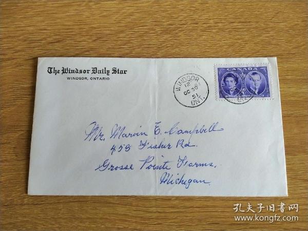 《外国集邮品收藏:加拿大1951年名人人物邮票实寄封》澜2101-24