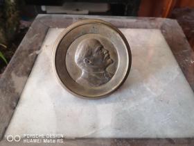 五十年代  纯铜制作  列宁 雕塑牌子 一个