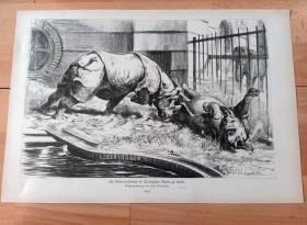 1882年大幅木刻版画《搏斗中的犀牛》(Ein Rhinoceroskampf im Zoologischen Garten zu Berlin)-- 出自19世纪德国著名动物画家,保罗·弗里德里希·梅耶海姆(Paul Friedrich Meyerheim,1842-1915)的原创木刻作品 -- 版画纸张41.5*27厘米