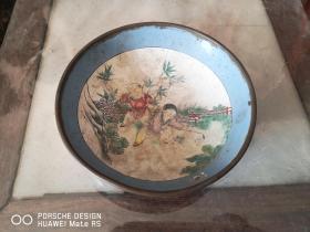 民国或清代  儿童 瓷碗铜质  一个