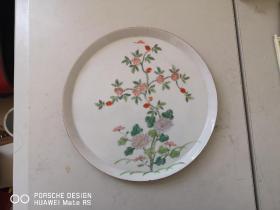 约清代或民国   花卉斗彩赏盘1个 带有底款 直径25厘米
