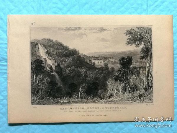 1832年钢版画--英国的德文郡和康沃尔郡之旅 《德文郡.典范之家canonteign house》纸张尺寸13.5*21厘米