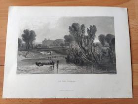 【透纳】1880年钢版画《温莎的泰晤士河》(ON THE THAMES)-- 出自19世纪英国著名浪漫主义风景画家,西方艺术史最杰出的风景画家之一,威廉·透纳(William Turner,1775-1851)作于1807年的油画作品,藏于英国泰特美术馆   -- 该画描绘了泰晤士河的晨昏景象,寄托了田园牧歌式的怀旧情感 -- 版画35.5*26厘米,大版幅,品相一级