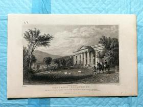 1832年钢版画--英国的德文郡和康沃尔郡之旅 《大城市奥克兰oaklands》纸张尺寸13.5*21厘米