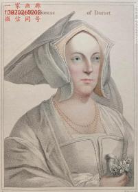 """1828年""""荷尔拜因笔下的亨利八世宫廷人物肖像""""彩色点刻钢版画《多西特侯爵夫人》—德国著名画家""""汉斯·荷尔拜因 Hans Holbein(1497/1498~1543)""""作品  CKNIGHT 雕刻 35x25cm  手工上色"""