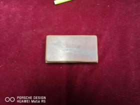 民国期间  纯铜制作   印泥墨盒一个 实木盖  尺寸6.5*11*3厘米