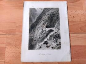 1878年钢版画《阿尔卑斯山脉,贡多大峡谷中贡多古桥,瑞士提契诺州》(The Bridge of Gondo)-- 出自19世纪英国画家,Myles Birket Foster油画 -- 贡多古桥是位于瑞士与意大利边境,贡多大峡谷中的中世纪石桥,是通往阿尔卑斯山辛普朗山口的必经之路;最初由商人修建于16世纪,19世纪初拿破仑派军队进行加固 -- 选自《如画的欧罗巴》 -- 纸张尺寸32*25厘米