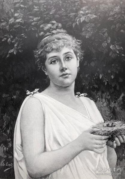 1891年 德国木口木刻版画 《无助的》41*28厘米
