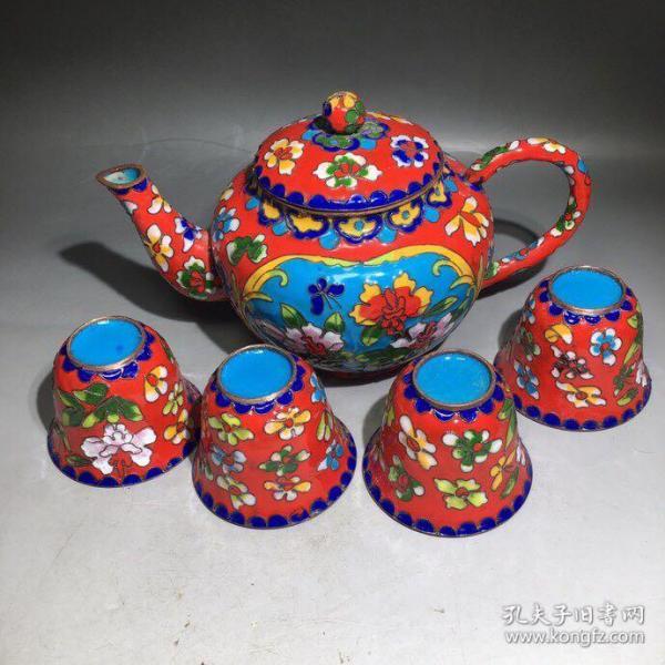 旧胎珐琅彩景泰蓝茶具一套