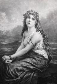 1891年 德国木口木刻版画 《渴望》41*28厘米
