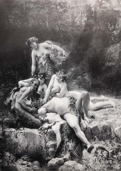 1891年 德国木口木刻版画 《西勒努斯和酒神》41*28厘米