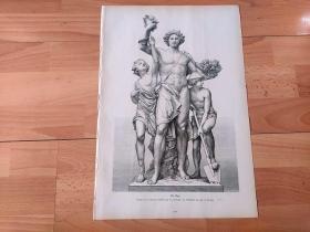 1883年大幅木刻版画《布吕尔平台青铜雕塑:正午(健美男子寓意阳刚之气)》(Der Tag)-- 出自19世纪德国著名雕塑家,约翰内斯·席林(Johannes Schilling,尼德瓦尔德纪念碑雕塑者)在德累斯顿布吕尔平台下创作的四座铜雕塑群 -- 四座铜塑像分别象征着一天四个时晨,这座塑像中健美男性右手持的橄榄枝代表太阳光环,寓意正午时分的朝气蓬勃,充满了阳刚之气 -- 版画纸张42*27厘米