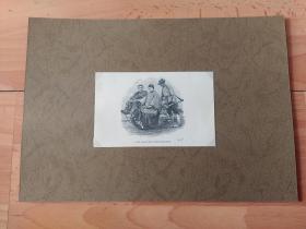 """【中国内容·摄影版画】1875年木刻版画《中国民间最早的""""出租车"""":上海地区的独轮车》(THE SHANGHAI WHEELBARROW)-- 影像资料来自苏格兰摄影家,约翰·汤姆森(John Thomson)游记《镜头前的旧中国》 -- 后背纸30*21厘米,版画纸张13.5*9厘米,后附汤姆森当年的老照片"""