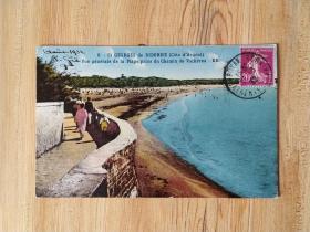 外国早期邮品终身保真【欧州早期彩色明信片法国1932年谷物女神邮票实寄海滩建筑风景彩色明信片 品相如图 记录历史瞬间】珍品2102-27