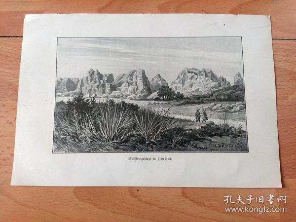 【游历中国】1910年书页照片《世界著名喀斯特地貌景观:昆明石林,云南省》(Kalksteingebirge in Yun Nan)-- 约3亿年前,昆明石林风景区是一片汪洋泽国,经过漫长的地质演变,终于形成极为珍贵的地质遗迹,早在明万历四十二年(1614年), 路南知州汪良就将石林芝云洞辟为览胜景点并立了芝云洞碑 -- 德国莱比锡出版《古老的大清帝国》,晚清历史史料 -- 纸张尺寸23*16厘米