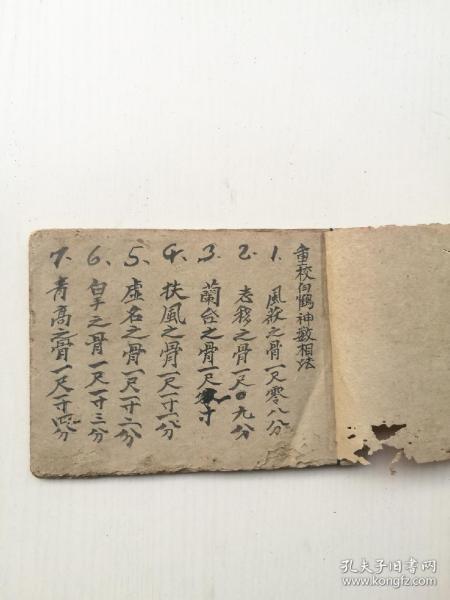 民国或解放初手抄摸骨算命术,白鹤神数相法一册全。