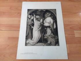 【图版9】1923年胶印版画《净化神殿:驱赶神殿中的商人》(AUSTREIBUNG DER WECHSLER)-- 出自16世纪著名德国画家,小汉斯·荷尔拜因(Hans Holbein,约1497-1543)的祭坛画 -- 主进入神殿把商人赶了出去,因为商人的欺诈行为妨碍了人敬拜神 -- 法兰克福施泰德美术馆出版,版画纸张58*42厘米