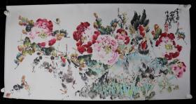 著名画家、中国画院副院长 林成翰 作 国画作品《富贵大吉》一件(纸本托片,画心约8.7平尺,钤印:林、成翰书画、妙得)HXTX199423