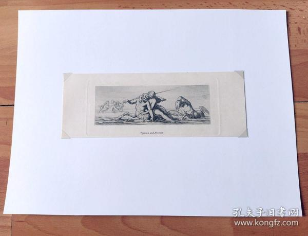 """1879年铜版蚀刻《诸神的狂欢:""""海神之子""""特里同与""""海中仙女""""涅锐伊得斯》(Tritonen und Nereiden)-- 出自19世纪奥地利浪漫主义画家,莫里兹·冯·施温德(Moritz Von Schwind)油画 -- 特里同是古希腊神话中海之信使,海王波塞冬之子,表现为人鱼形象;涅锐伊得斯是温柔的海中仙女 -- 维也纳艺术画廊出版 -- 后背衬纸35*26厘米,版画纸张22.5*8厘米"""
