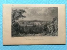 1832年钢版画--英国的德文郡和康沃尔郡之旅 《德文郡.沃灵顿公园werringgton park》纸张尺寸13.5*21厘米