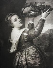 《女儿拉维尼娅》—西方油画之父提香·韦切利奥(Tiziano Vecelli,1490 - 1576年)名作 20世纪初大幅照相腐蚀凹版铜版画 50*35.5厘米
