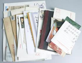 孟-瘦-梅上款:著名书法家、诗人、原上海华兴诗画研究会名誉会长张联芳,著名学者、沪上老诗人 夏立恭等 信札、照片、笔记等 一组30余件 HXTX327735