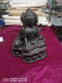 清代最晚民国期间 铜质 三面佛像一尊 底31厘米高35厘米0重约3-40斤