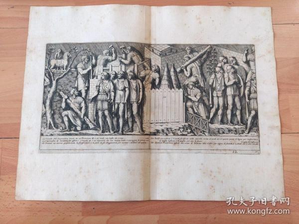 """1673年大幅铜版画《图拉真纪功柱大理石""""饰带""""浮雕:公元116年,图拉真亲率罗马军队远征帕提亚(古波斯),兵抵波斯湾》(Soldati Cavall Rom Trajanss?ule)-- 选自Giovanni de Rossi(1627-1691)出版《Colonna Traiana》一书 -- 雕刻师Pietro Santo Bartoli(1635-1700)-- 版画纸张44*34厘米"""