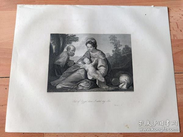1860年钢版画《逃亡埃及途中的神圣家庭》(Out of Egypt have)-- 出自意大利17世纪最杰出的画家,圭多·雷尼(Guido Reni,1575-1642)的油画作品 -- 画作描绘耶稣全家在耶路撤冷时为躲避大希律王的追杀,在天使们的帮助下前往埃及的场景 -- 英国伦敦出版,版画纸张30*24厘米