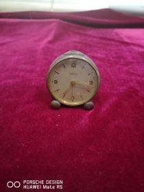 民国期间 纯铜制作 roamer瑞士罗马牌 圆形闹钟一个 干净整齐品相玩好