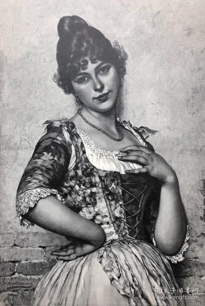 1891年 德国木口木刻版画 《玛丽埃塔》41*28厘米