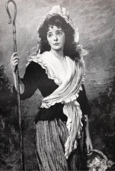 1891年 德国木口木刻版画 《万人迷》41*28厘米