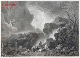 """1845年钢版画《尼俄伯》—英国画家 """"理查德·威尔逊(Richard Wilson,1714-1782年)""""作品  版画家:J.C.VARRALL雕刻 尺寸:27x21cm"""